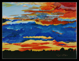 Fiery Sunset Painting by verenabloo, Illustrations->Traditional gallery