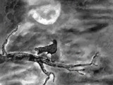 Lonely Crow at Night by bfrank, illustrations gallery