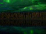 Northern Lights, behind Fall Colours, On A Lake, Somewhere by d_spin_9, Contests->Fantasy Landscapes gallery