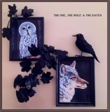 The Owl, The Wolf, & The Raven by mesmerized, illustrations->traditional gallery