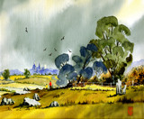 A Windy Walk-Corfe Castle from the N.East by Trevorcardigan, Illustrations->Traditional gallery