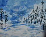 A Canvas Painting: Approaching Snowstorm by verenabloo, Illustrations->Traditional gallery