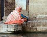 Collecting Water from the Ganges (color version) by jeenie11, photography->people gallery