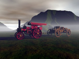 Traction Engine, and Wagon by DixieNormus, Computer->3D gallery