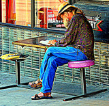 Sidewalk Reader by Fifthbeatle, photography->people gallery