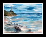 Canvas Painting of Beach & Lighthouse: Series # 1 by verenabloo, Illustrations->Traditional gallery