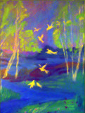 birds and landscape - oil by rotcivski, illustrations->traditional gallery