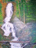 Fish Creek Falls, Steamboat Springs, CO Oil painting -Third  by rotcivski, illustrations->traditional gallery