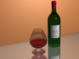 bottle of wine and glass of wine by Frelu, Computer->3D gallery