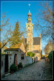Town Hall Steeple In Cobblestone Alley by corngrowth, photography->architecture gallery