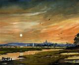 Bosham Harbour-West Sussex-Moonlight by Trevorcardigan, Illustrations->Traditional gallery