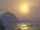 Foggy Sunset At a Mountain Bay by timw4mail, Computer->Landscape gallery