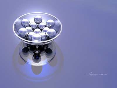 Glass bowl containing an arrangement of metal objects by Samatar, Computer->3D gallery