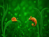 Snail and Chameleon by vladstudio, Illustrations->Digital gallery