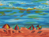 Beach Umbrellas Painting by verenabloo, Illustrations->Traditional gallery