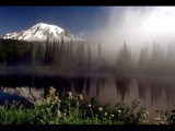 Foggy Mt. Rainier Sunrise from Reflection Lake by photoimagery, Photography->Mountains gallery